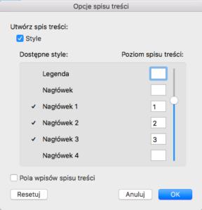 MS Word Opcje spisu treści